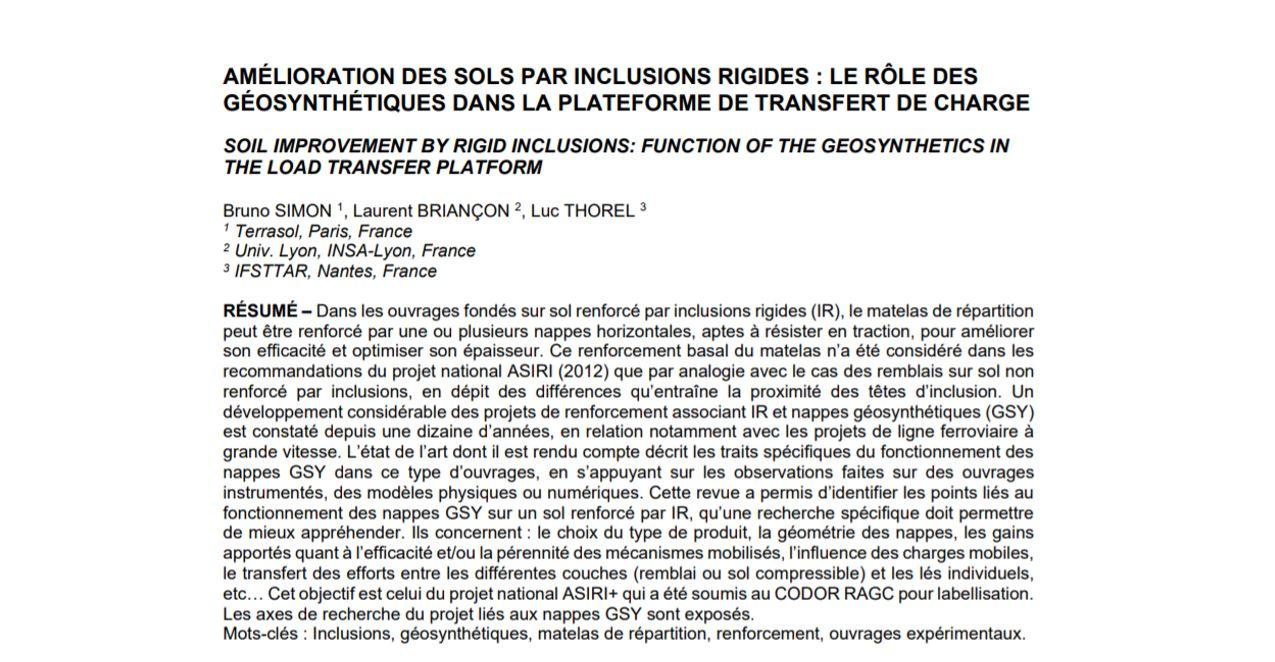 Image du document pdf : Amélioration des sols par inclusions rigides : le rôle des géosynthétiques dans la plateforme de transfert de charge